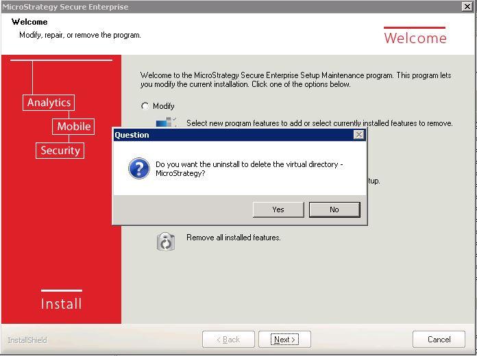KB439370: Removing / Uninstalling MicroStrategy Enterprise