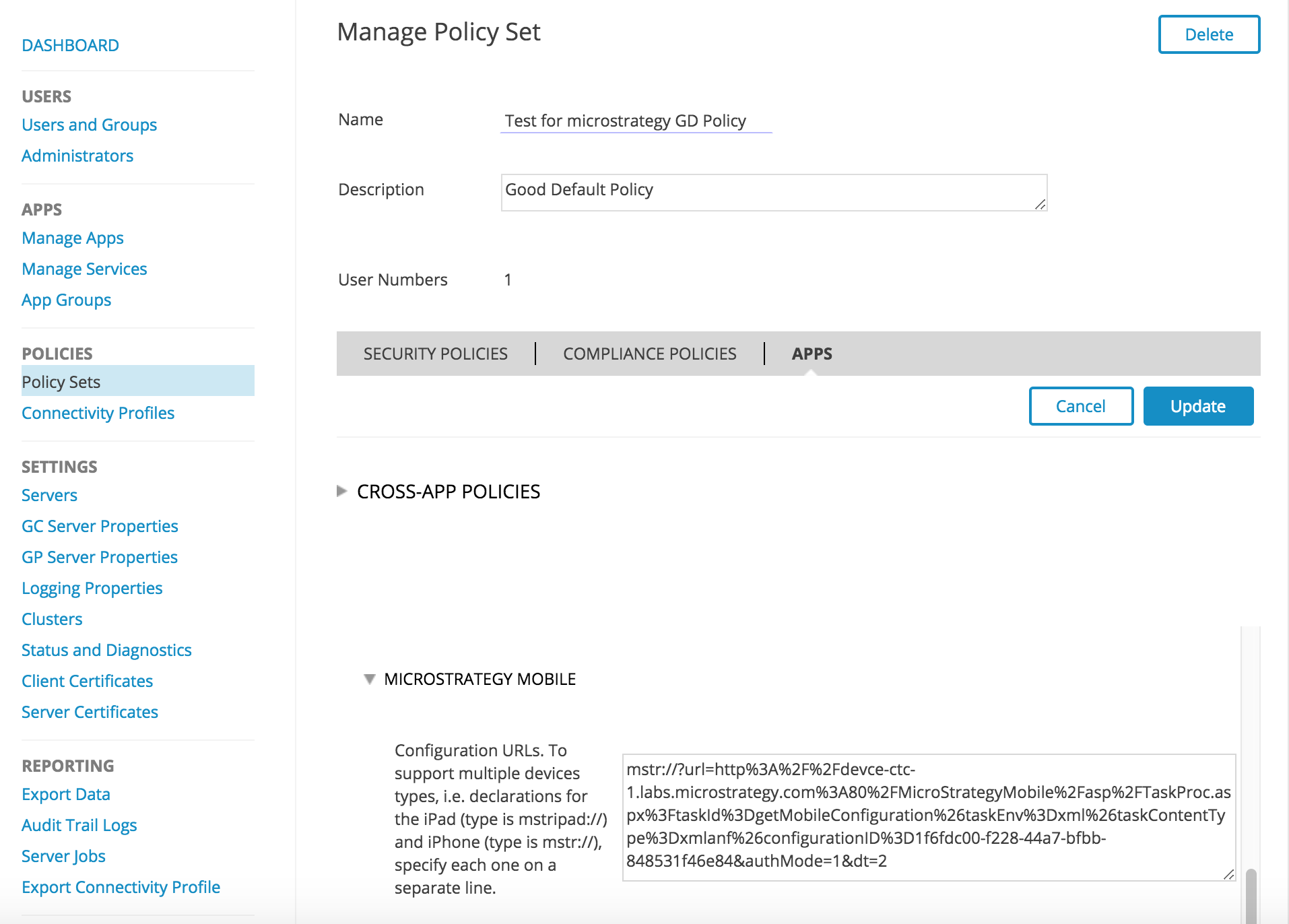 EMM | IOS | How to use MSTR BlackBerry Good Control Integrated SDK