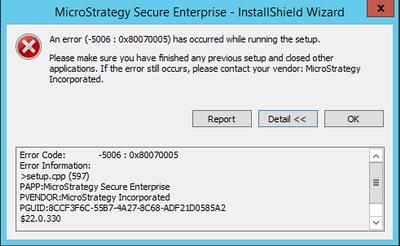 """KB319730: The InstallShield Wizard error """"An error (-5006"""