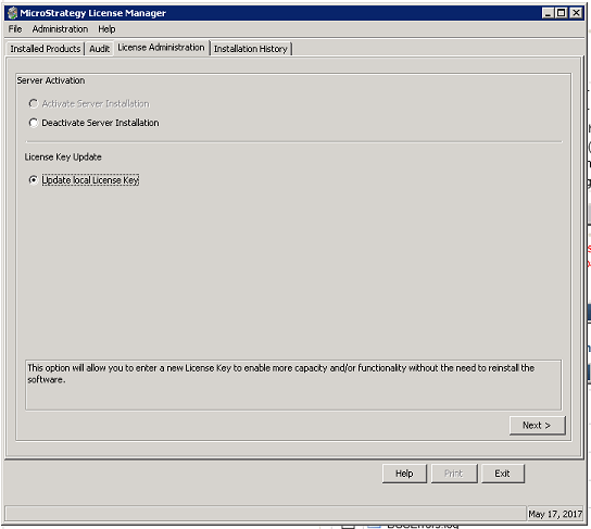 KB16922: How to update license keys in MicroStrategy 10 x using