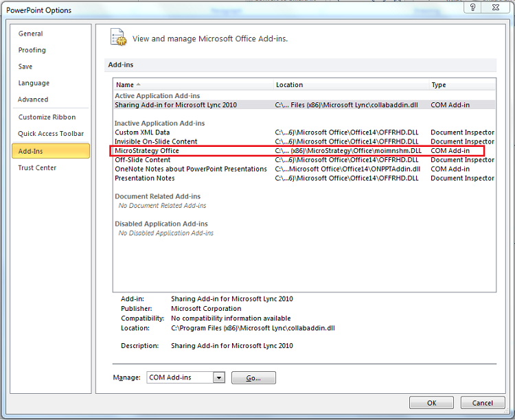 KB46747: After enabling the MicroStrategy Office plugin in