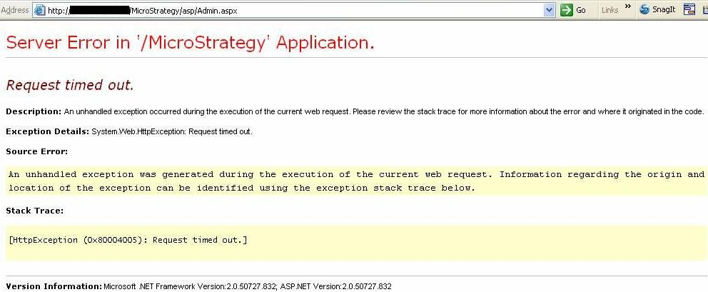 KB19185: 'Server Error in '/MicroStrategy' Application… Request