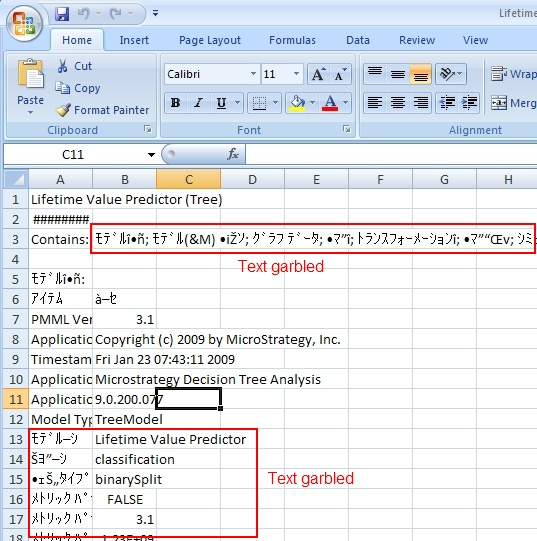KB32102: Text garbled when exporting predictive model to CSV