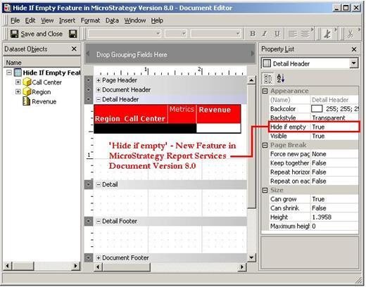 Screenshot van MicroStrategy Report Services software.