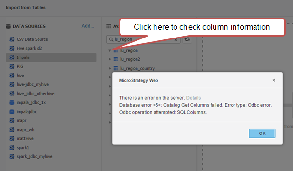"""KB247588: In MicroStrategy 10 0 0, error message """"Database"""