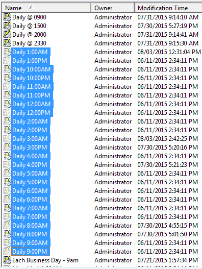 KB274326: Built in Schedules are grayed out and aren't