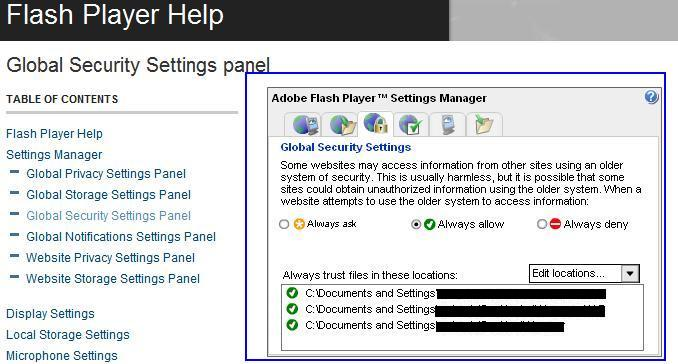 KB30398: How to configure Adobe Flash Security settings to