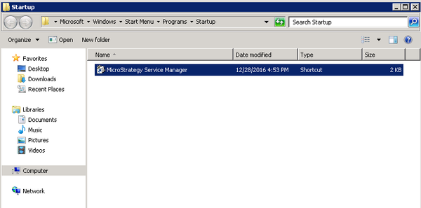KB320100: MicroStrategy Service Manager does not start automatically