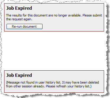 KB42559: 'Job Expired  The results for this report are no