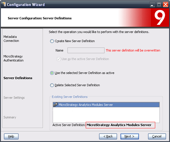 KB37225: How to determine what server definition is