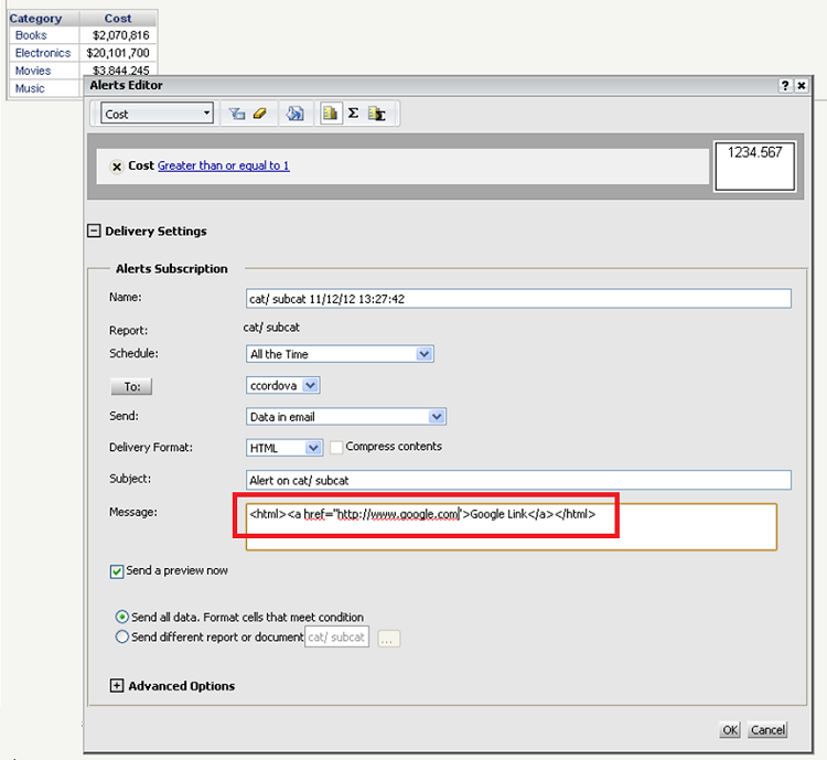 KB41703: How to embed hyperlinks in the message box of Email