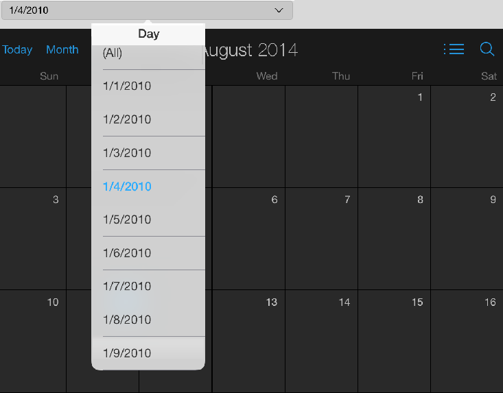 KB47984: A selector does not update the data on the calendar widget