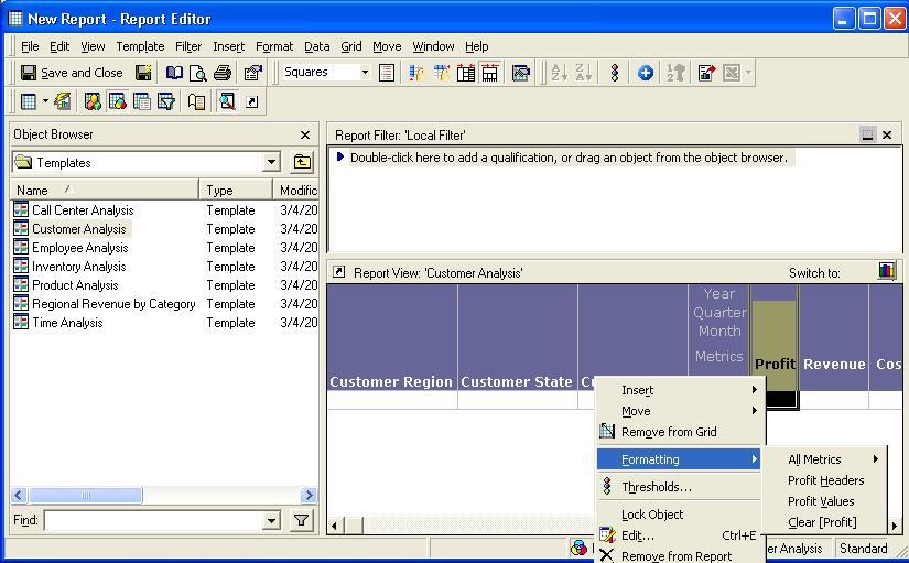 Screenshot van MicroStrategy Web Report Editor software.