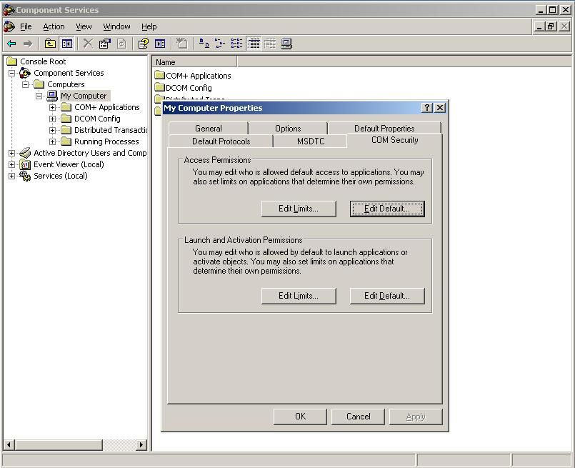 KB10646: How to set the DCOM settings for remote