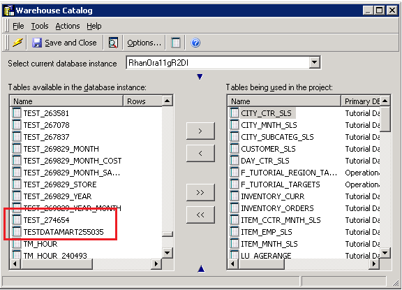 KB442225: How to show oracle synonym in warehouse catalog